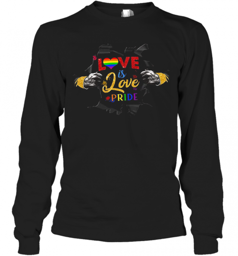 Love Is Love Pride Open Hand Heart LGBT Long Sleeve T-Shirt