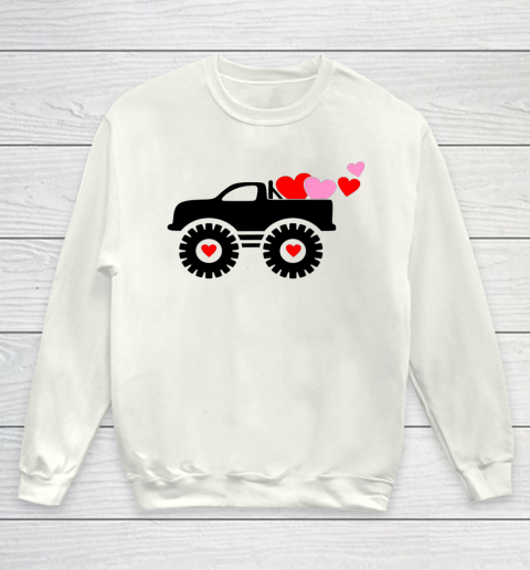 Valentine Monster Truck Loads of Love Hearts Shirt Gift Youth Sweatshirt