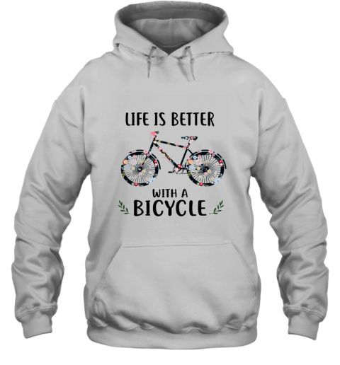 Life Is Better With A Bicycle Floral Hoodie