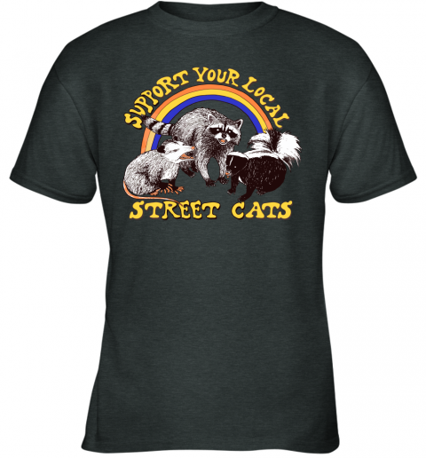g91j support your local street cats trash panda skunk wild animal shirts youth t shirt 26 front dark heather