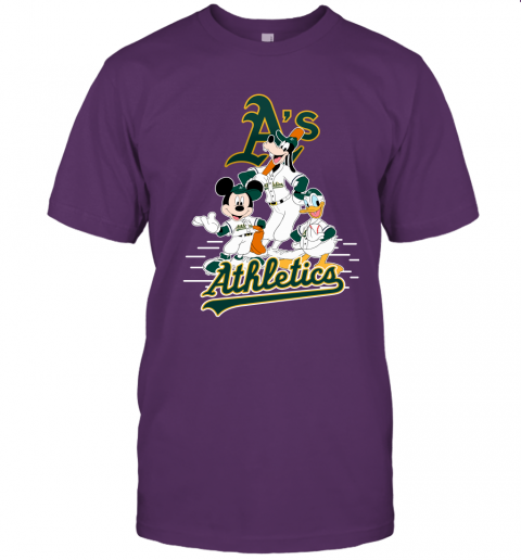 1eru oakland athletics mickey donald and goofy baseball jersey t shirt 60 front team purple