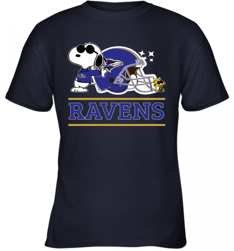 nuyd the baltimore ravens joe cool and woodstock snoopy mashup youth t shirt 26 front navy