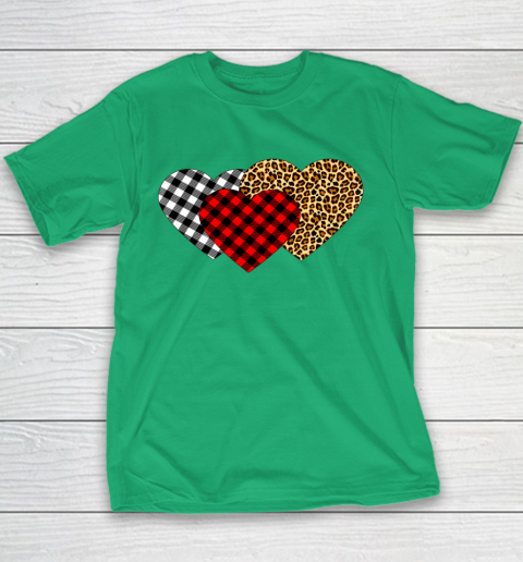 Leopard Heart Buffalo Plaid Heart Valentine Day Youth T-Shirt 3