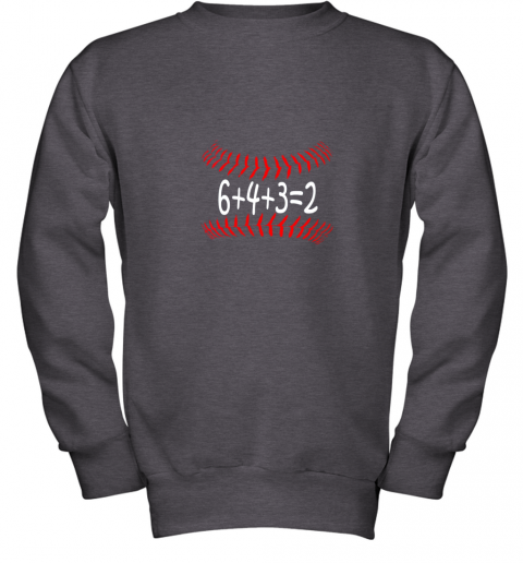 px1n funny baseball 6432 double play shirt i gift 6 4 32 math youth sweatshirt 47 front dark heather