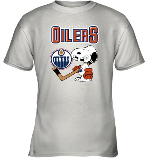 qyzy edmonton oilers ice hockey broken teeth snoopy nhl shirt youth t shirt 26 front white