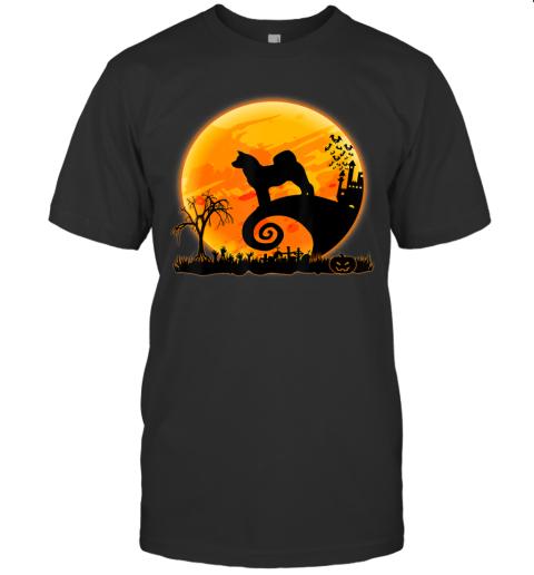 Akita Inu Dog Shirt And Moon Funny Halloween Costume Gift T-Shirt