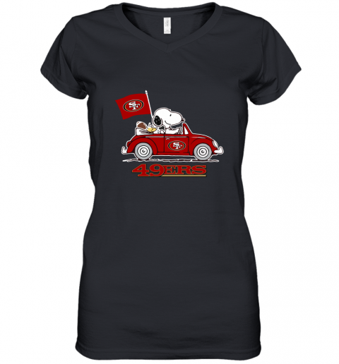 Snoopy And Woodstock Ride The San Francisco 49ers Car Women's V-Neck T-Shirt