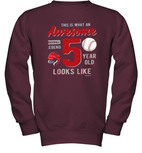 fswj kids 5th birthday gift awesome 5 year old baseball legend youth sweatshirt 47 front maroon