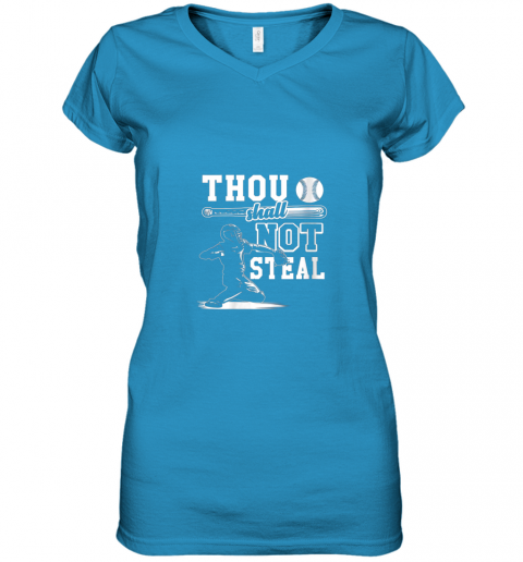 gx5y funny baseball thou shall not steal baseball player women v neck t shirt 39 front sapphire