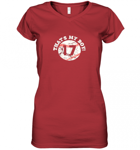 9zi9 that39 s my boy 17 baseball player mom or dad gift women v neck t shirt 39 front red