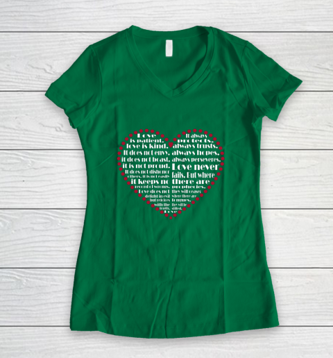 Love is patient love is kind Valentine Hearts Valentines day Women's V-Neck T-Shirt 3