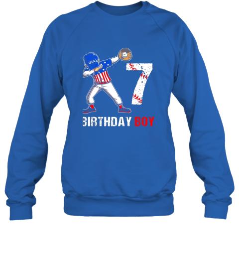 vmve kids 7 years old 7th birthday baseball dabbing shirt gift party sweatshirt 35 front royal