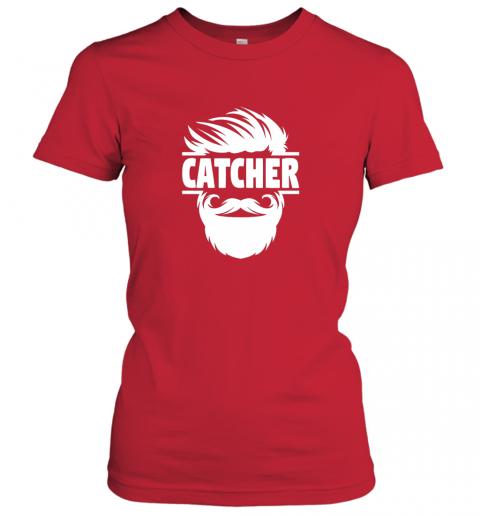 lswh bearded baseball catcher ladies t shirt 20 front red