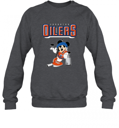 v2qw mickey edmonton oilers with the stanley cup hockey nhl shirt sweatshirt 35 front dark heather