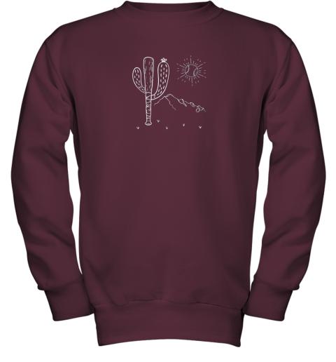 cxex cactus baseball bat image shirt for america39 s pastime fan youth sweatshirt 47 front maroon