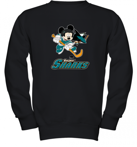 trst nhl hockey mickey mouse team san jose sharks youth sweatshirt 47 front black