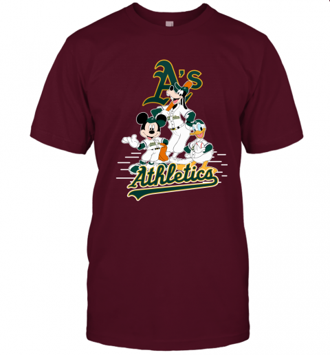1eru oakland athletics mickey donald and goofy baseball jersey t shirt 60 front maroon
