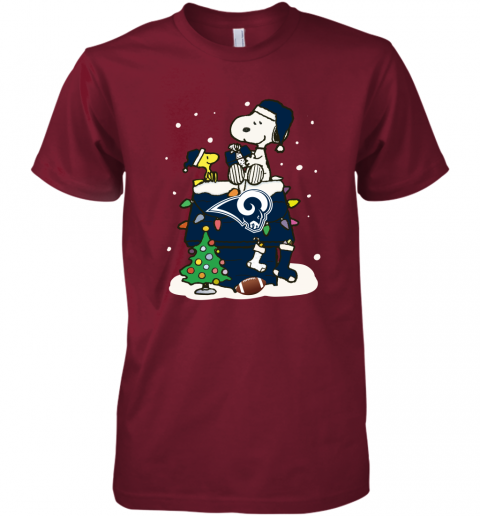 o32b a happy christmas with los angeles rams snoopy premium guys tee 5 front cardinal