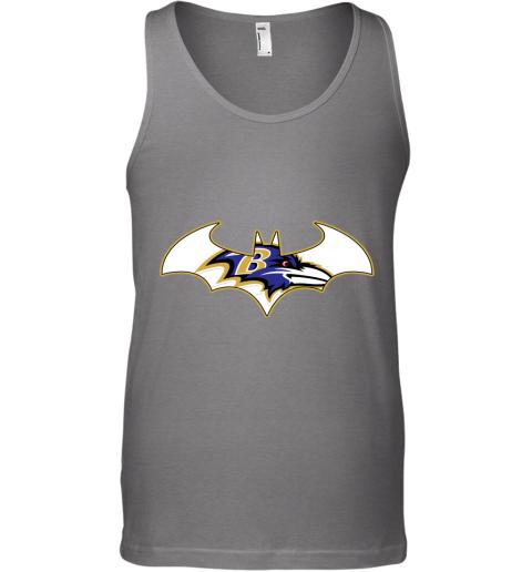 xvnx we are the baltimore ravens batman nfl mashup unisex tank 17 front graphite heather