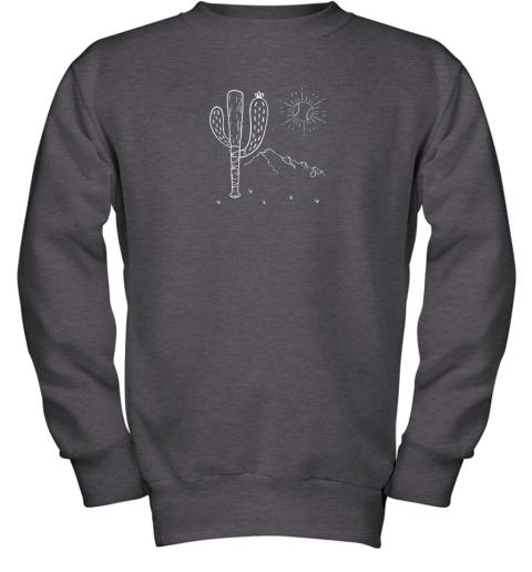 cxex cactus baseball bat image shirt for america39 s pastime fan youth sweatshirt 47 front dark heather