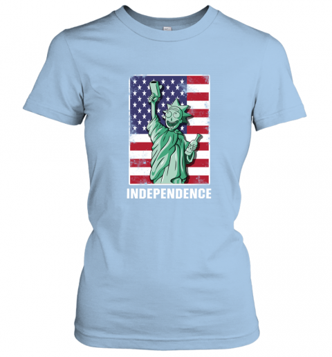 nzlr rick and morty statue of liberty independence day 4th of july shirts ladies t shirt 20 front light blue