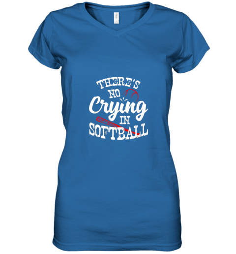 xx0v theres no crying in softball game sports baseball lover women v neck t shirt 39 front royal