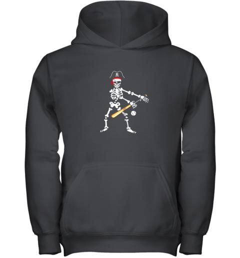 Skeleton Pirate Floss Dance With Baseball Shirt Halloween Youth Hoodie