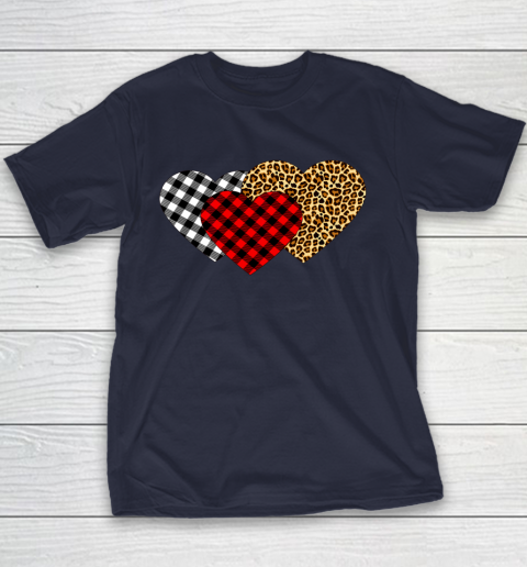 Leopard Heart Buffalo Plaid Heart Valentine Day Youth T-Shirt 2