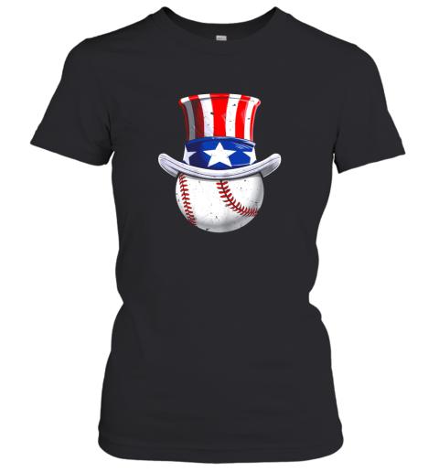 Baseball Uncle Sam Shirt 4th of July Boys American Flag Women's T-Shirt