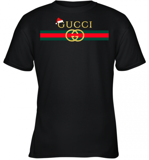 Gucci Glitter Logo Vintage Inspired Santa Hat Merry Christmas Gift Youth T-Shirt
