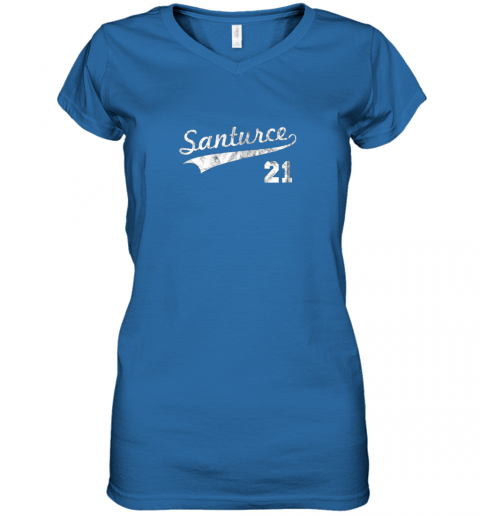 cqet vintage distressed santurce 21 puerto rico baseball women v neck t shirt 39 front royal