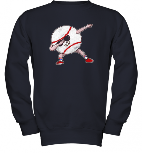 2pwu kids funny dabbing baseball player youth shirt cool gift boy youth sweatshirt 47 front navy