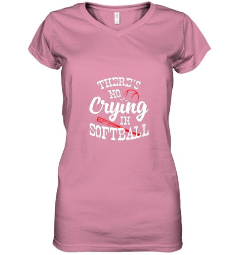 xx0v theres no crying in softball game sports baseball lover women v neck t shirt 39 front azalea
