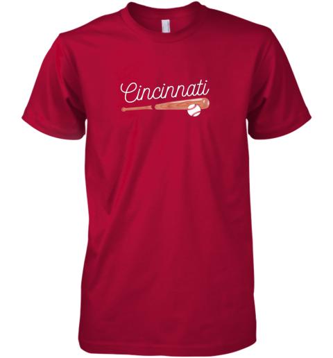 ujsh cincinnati baseball tshirt classic ball and bat design premium guys tee 5 front red