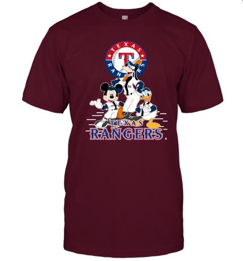 k05x texas rangers mickey donald and goofy baseball jersey t shirt 60 front maroon
