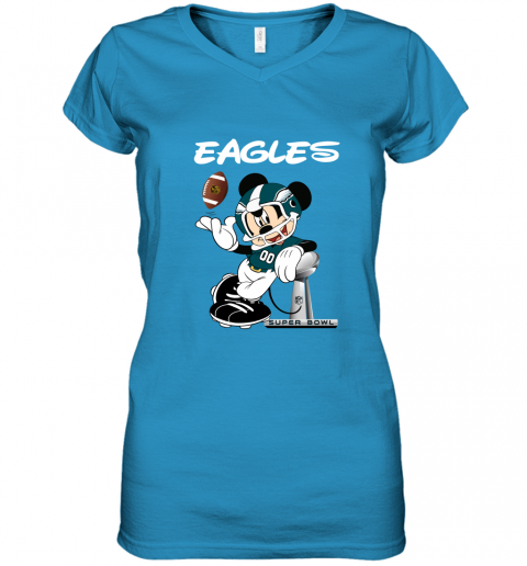 u4a1 mickey eagles taking the super bowl trophy football women v neck t shirt 39 front sapphire