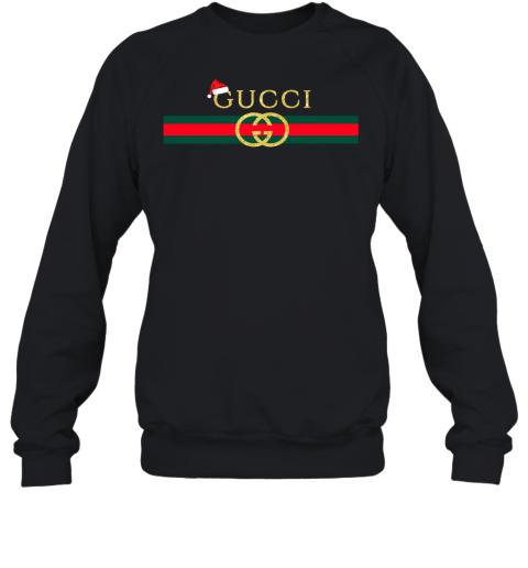 Gucci Glitter Logo Vintage Inspired Santa Hat Merry Christmas Gift Adult Crewneck Sweatshirt