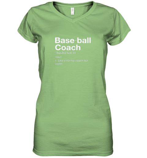 45om coach baseball shirt team coaching women v neck t shirt 39 front lime
