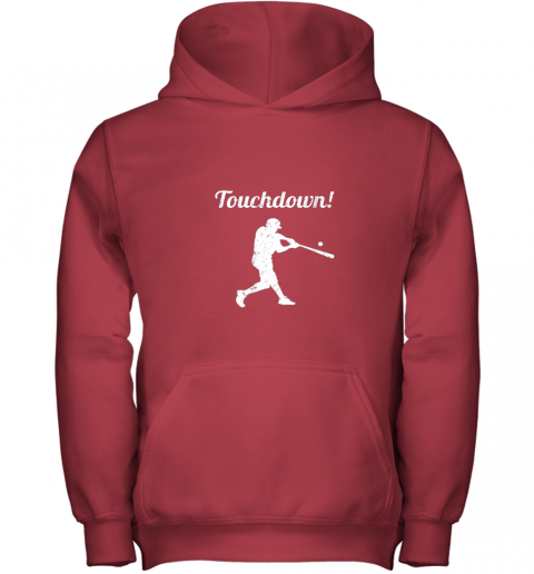 htlv touchdown funny baseball youth hoodie 43 front red