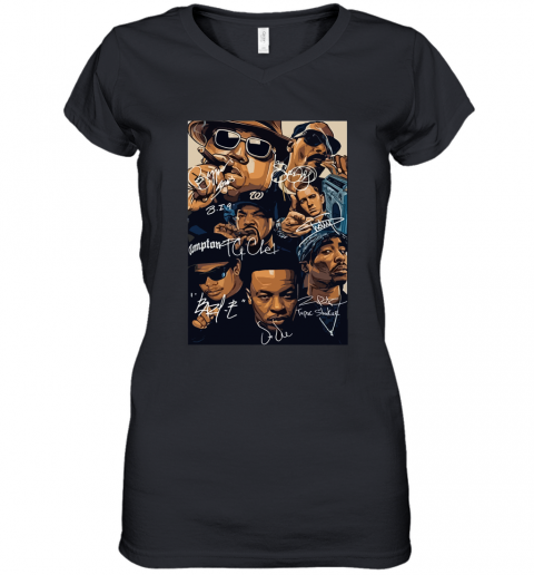 7 American Rapper Inspired Eazy E Biggie Tupac Snoop Dogg Jay-Z Eminem Women's V-Neck T-Shirt