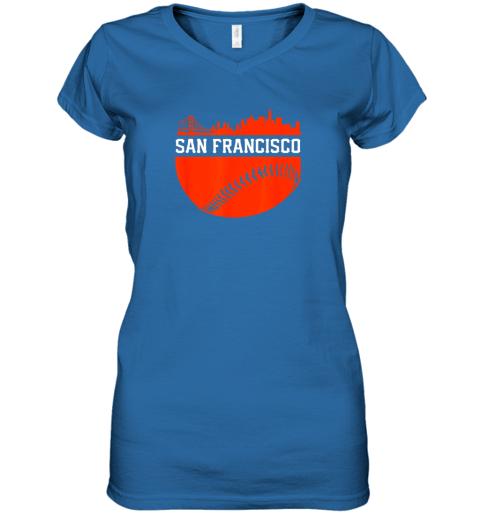 dgjs san francisco baseball vintage sf the city skyline gift women v neck t shirt 39 front royal