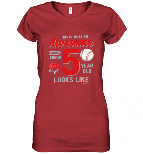 56jp kids 5th birthday gift awesome 5 year old baseball legend women v neck t shirt 39 front red