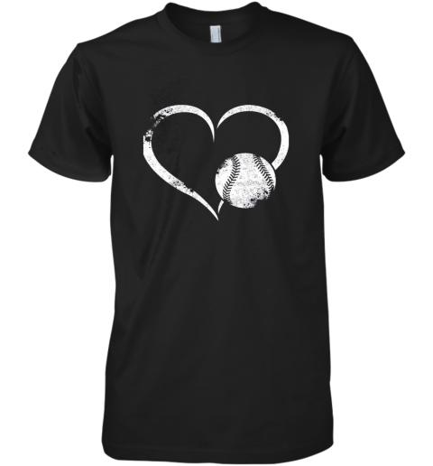 I Love Baseballl Funny Baseball Lover Heartbeat Premium Men's T-Shirt