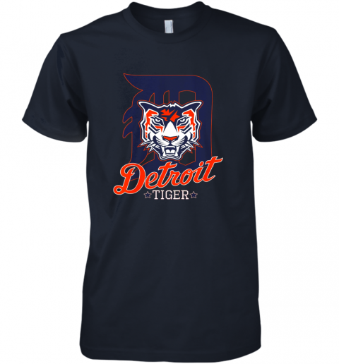 wwys tiger mascot distressed detroit baseball t shirt new premium guys tee 5 front midnight navy