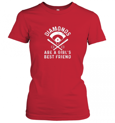 ajwo diamonds are a girl39 s best friend baseball ladies t shirt 20 front red