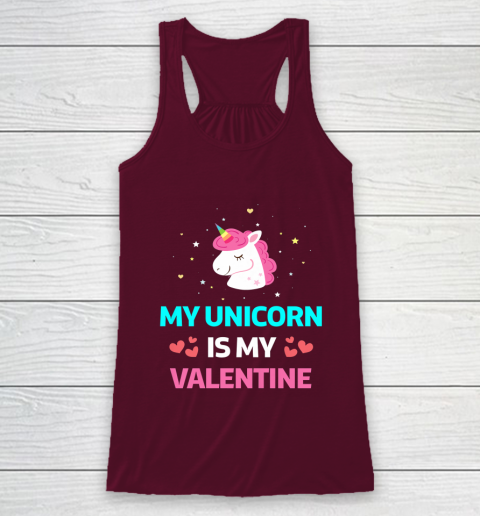 Funny Valentines Day Shirt Unicorn Is My Valentine Racerback Tank 2