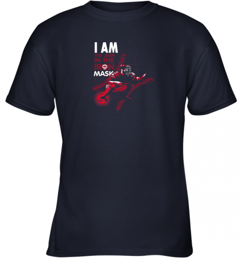 kxct i am the man in the iron mask baseball catcher youth t shirt 26 front navy