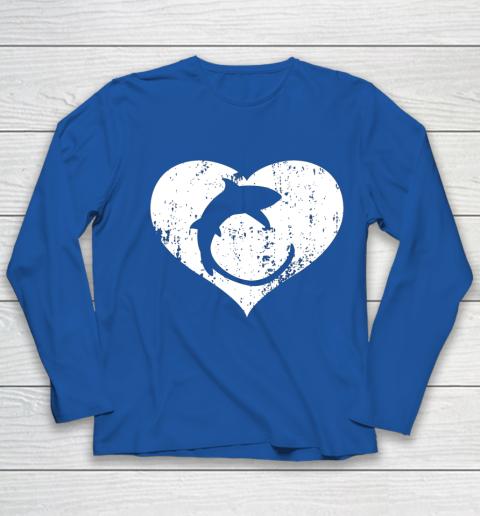 I Love Sharks Gifts Thresher Shark Heart Valentine Gift Youth Long Sleeve 7