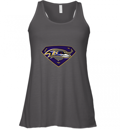 vnir we are undefeatable the baltimore ravens x superman nfl flowy tank 32 front dark grey heather