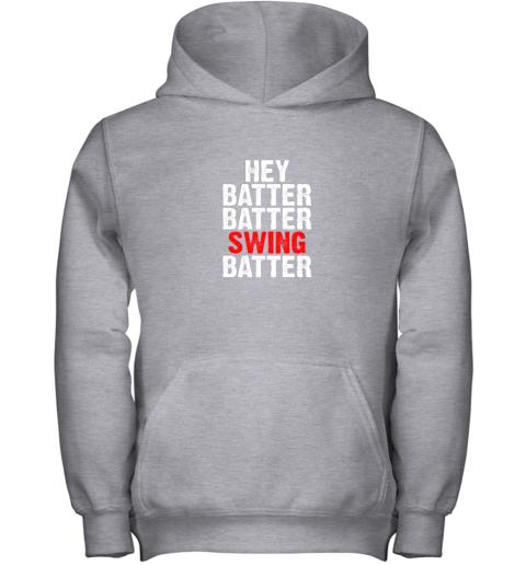 9k4w hey batter batter swing batter funny baseball youth hoodie 43 front sport grey